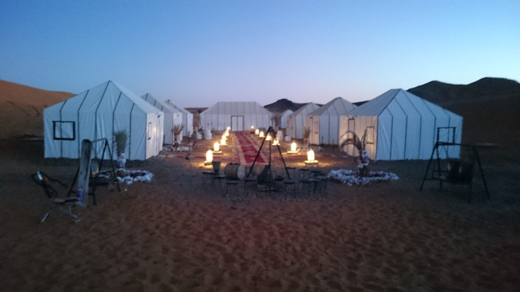 Merzouga Luxury Desert Camp in the evening