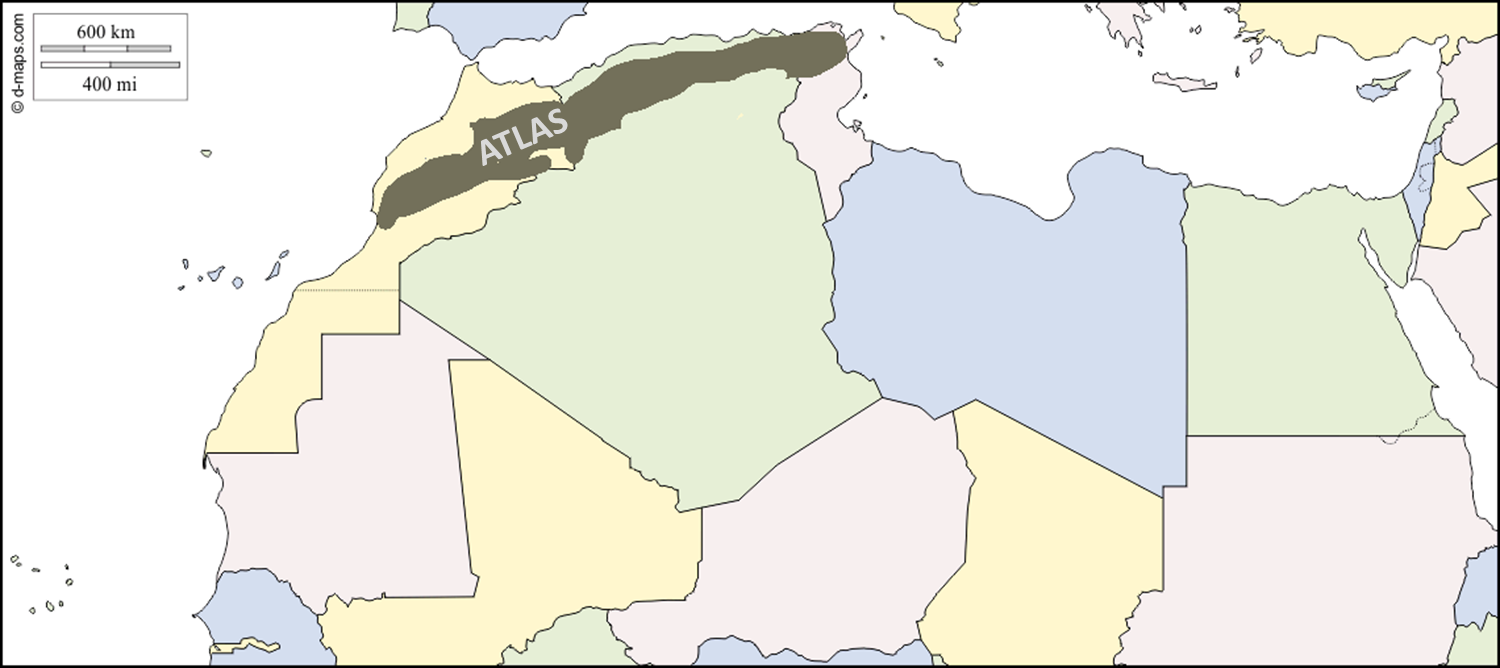 Atlas mountains Africa map