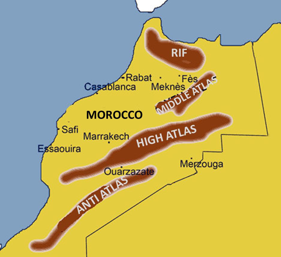 Atlas mountains map Morocco