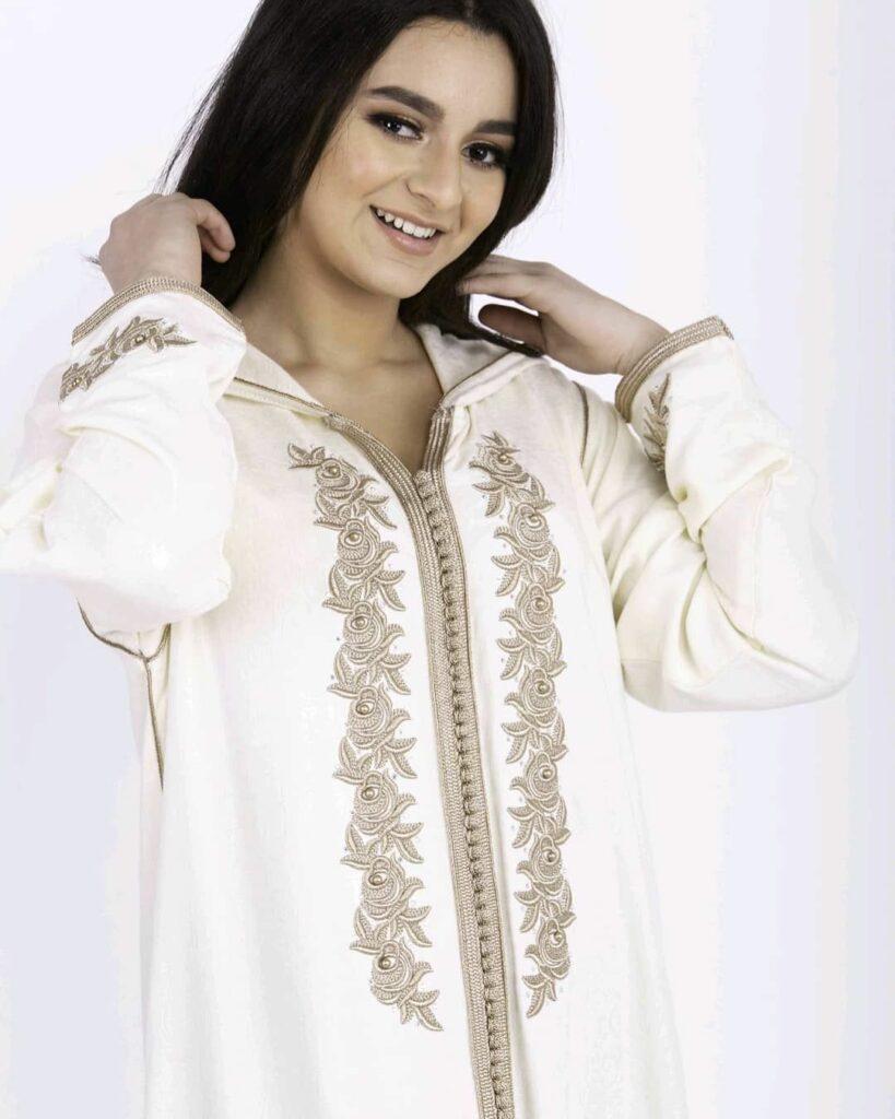 Moroccan djellaba for women white